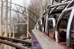 Into the Sky! (modestmoze) Tags: sky clouds trees architecture lithuania 2017 500px view metal cabin ride rollercoaster hills grey purple explore travel april spring white park amusement amusementpark urban black lines interesting green red seats leather enjoy unsafe abandoned old