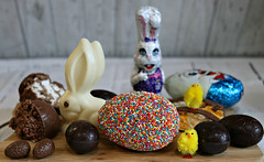2017 Sydney: last of the Easter Eggs (dominotic) Tags: 2017 food chocolate freckleeasteregg happyeaster lolly sweets candy 100s1000s confectionery rockyroadegg darkchocolateegg whitechocolateegg nougategg sydney australia darrellleafreckleegg
