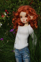 Gracie Stands Alone (Emily1957) Tags: gracie kayewiggs resin bjd redhair redhead jeans dolls doll toys toy light naturallight nikond40 nikon kitlens curls elf