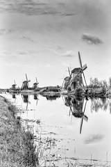 Windmills (christian.grelard) Tags: windmill water netherlands kinderdijk bw blackandwhite noiretblanc nb monochrome