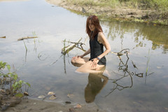 Water Spirits (marylee.agnew) Tags: red hair woman water self portrait life pond