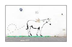 Street Art (Stay Gold), North London, England. (Joseph O'Malley64) Tags: staygold streetartist streetart urbanart publicart freeart graffiti northlondon london england uk britain british greatbritain art artist artistry artwork mural muralist wallmural wall walls render burglaralarm flue vent pavement horse unicorn horn wings winged foxes urban urbanlandscape stencils stencilwork mixedmedia aerosol cans spray paint fujix accuracyprecision