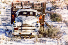 '47 Chevy... (Howard Brown Photographic) Tags: chevrolet chevy 47 1947 truck cab classic wreck rust rusty abandoned utah panguitch bryce canyon scenic byway 12 hwy 89 hdr textures texture photoart digital art snow winter dixie national forest