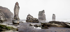Three Sisters, Tongaporutu, New Zealand (Sitoo) Tags: 3sisters nz newzealand tasmansea threesisters tongaporutu beach coast famousplace fog foggy panorama rain raining rainy sand sea southisland touristdestination travel wet