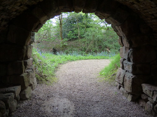 Gardens at Arbury Hall - stone tunnel / bridge
