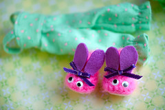 bunny slippers💜 (sugarelf) Tags: sleepwear pajamas slippers bunny crochet felt doll clothes