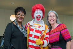 Mary Redmond, president of Ronald McDonald House Charities Greater Houston Galveston, Ronald McDonald and Tanya Gee, executive director (UTHealth) Tags: ronald mcdonald care mobile uthealth school dentistry houston texas children health dental