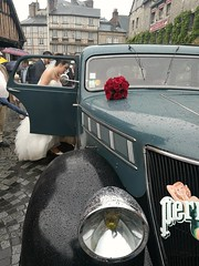 Bride getting  in a Renault Celtaquatre vintage _1934 for a new life (gerrygoal2008) Tags: renault celtaquatre car vintage 1934 old bride wedding street huawei raining rainy water drops