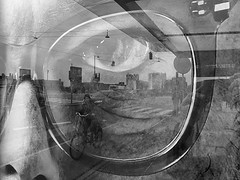 We see (Birdhouse camper) Tags: copenhagen denmark poster reflection fujifilm fuji fujifilmx10 blackandwhite blackwhite street moncrome eye