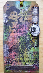 May tag of 2013 (Chimerastone) Tags: collage ink vintage paper rainbow handmade mixedmedia tag grunge artsy stains distress eclectic resist patina rubberstamps papercraft timholtz ideaology
