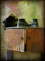 Boots on an Old Television:   Abandoned Greek Revival Cottage, Speed, Edgecombe County, North Carolina (EdgecombePlanter) Tags: light shadow texture abandoned nc moody decay deteriorated dilapidated textured greekrevival trashtotreasure oldfurniture edgecombe