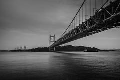 PhoTones Works #2868 (TAKUMA KIMURA) Tags: bridge sea white black nature monochrome japan landscape boat     kimura    setoohashi   takuma     rx100 photones