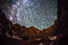 Longs Peak Star Trails (RSBurnsIM) Tags: camp canon stars climb colorado nightshot awesome diamond fisheye astrophotography co longspeak startrails bivy