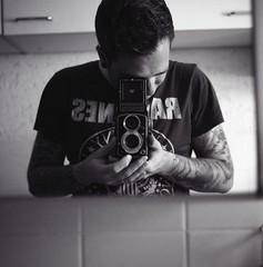[me] (Alex Sander S.) Tags: portrait selfportrait 120 6x6 me tattoo analog mediumformat ilfordhp5 rolleicord hp5plus tattooed mittelformat selfdev epsonv500 r09oneshot alexstertz