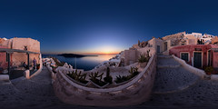 Oia Sunset, Santorini (Garret Veley) Tags: sunset panorama santorini greece caldera stitched 360x180 oia ptgui equirectangular canon15mm nodalninja3 canon5dmk2 topazdenoise garretveley topazremask promotecontrol topazclarity