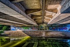 Under The Bridge (WhySoSerious?) Tags: bridge reflection green water canon concrete eos graffiti wasser pipes grn brcke sewer spiegelung hdr highdynamicrange einkaufswagen beton rohre 3xp marchfeldkanal 650d