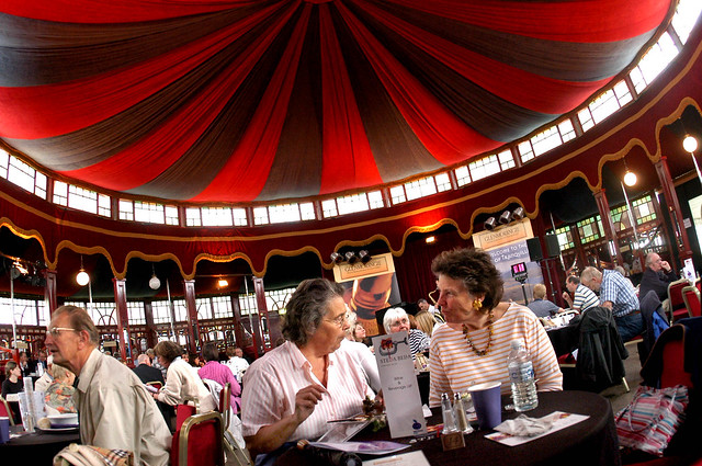 Spiegeltent diners at the 2004 Edinburgh International Book Festival