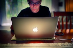 Once You Go Mac, You Won't Go Back (DavioTheOne) Tags: portrait people selfportrait male apple computer person reading glasses artistic bokeh laptop electronics utata hdr macbook macbookpro