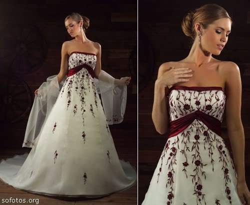 Vestidos para noivas com faixas vinho