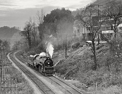On a long and rather complicated ferry move from Brookville, PA, to Brownsville, PA, ex-Reading T-1 4-8-4 2102 heads west on Penn Central's ex-PRR Conemaugh Division, in western Pennsylvania, 1974. (Ivan S. Abrams) Tags: blackandwhite newcastle pittsburgh butler bo ge prr ble conrail alco milw emd ple 2102 chessiesystem westmorelandcounty 4070 bessemerandlakeerie steamtours pittsburghandlakeerie ivansabrams eidenau steamlocomtives ustrainsfromthe1960sand1970s