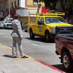 appalled appulse (bhautik joshi) Tags: sf sanfrancisco california street red people yellow truck stand candid streetphotography pedestrian smoking sidewalk bayarea fromthehip sfist bhautikjoshi