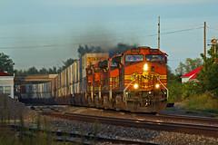 BNSF 4049 Runs wrong main past the La Plata Mo Amtrak station. (Machme92) Tags: railroad santafe station trains amtrak missouri ge bnsf stacks dash9 gevo