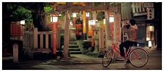 Peaceful Tatsumi Shrine in Gion, Kyoto - Japan (AmnesiArt) Tags: voyage street trip travel red orange cinema heritage film tourism bike japan stone night asian rouge japanese kyoto shrine asia photographer traditional culture tourist explore geisha lanterns  digitalcamera asie hd gion dslr stillframe cinematic rue nuit torii japon vlo cultural lumires japonais lanternes fineartphotography quartier geishadistrict asiatique photographe higashiyama traditionnel tatsumi culte  traveldestination  arrtsurimage canonef85mmf12liiusm sachtler canoneos5dmarkii tatsumidaimyojin gionmachi hdslr vision:text=0713 vision:outdoor=0729 amnesiart amnesiartcom japanajourneybetweentraditionandmodernity nickarcivos ryanearl photographiefineart