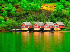 REFLECTION (*atrium09) Tags: reflection verde green water norway mirror agua reflejo oil noruega casas hdr
