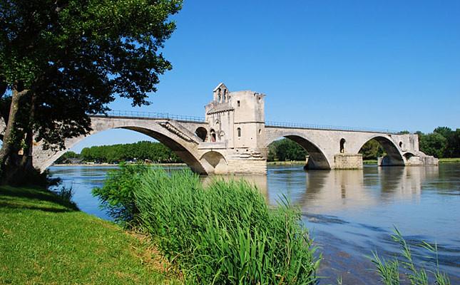 The Saint Benezet bridge on Rhone river in Avignon Provence France
