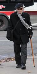 Age! (Gul76) Tags: old man bus hat scarf walking ttc sidewalk age stick