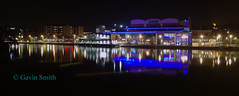 Special effects escape the multiplex. (G&R) Tags: light england costa cinema reflection water pool night effects photography long exposure neon lincolnshire east wharf lincoln luminous odeon midlands brayford