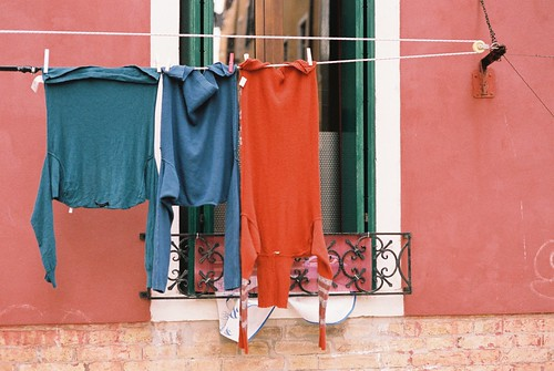Hanging clothes and window, Venice, November 2013