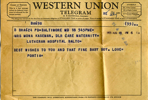 TELEGRAM 1955. Something else thats isn