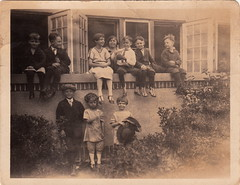 Our gang (c.1930) (pellethepoet) Tags: girls friends window boys kids children snapshot photograph groupportrait