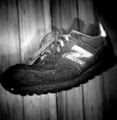 Old School New Balance (Mozart's Ghost) Tags: sneaker dirtyshoes woodfloor oldshoes dirtysneakers newbalance574 flickrandroidapp:filter=none