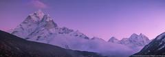 Ama Dablam Mt. Peak (6812m) at dawn (Arsenii Gerasymenko) Tags: nepal sunset panorama mountain snow color ice dawn mt purple top peak climbing ama summit himalaya amadablam dablam