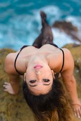 Kat (Marvin Chandra) Tags: d600 50mm katsweets sukiyuki marvinchandra hawaii oahu lanailookout landscapeportrait model portrait ocean pacificocean 2017 lingerie stockings lavarocks