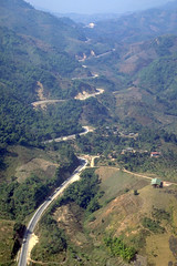 Aerial view of a rural road and the Mae Chan Fault, Thailand (cocoi_m) Tags: aerialphotograph aerial rural road maechanfault thailand fault paleoseismic trench nature geology geomorphology totallythailand maechan