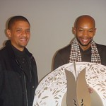 Krannert Curator of Contemporary Art Tomelo Mosaka and visiting artist Marlon Griffith, Spring 2011.