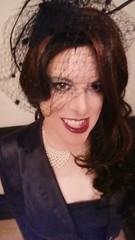 April 2017 - dinner at hotel Colombi (cilii_77) Tags: crossdresser transgender lady nylon stockings skirt suit satin makeup lipstick kiss veil elegant