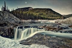 Elbow Falls watermark (John Andersen (JPAndersen images)) Tags: alberta canada clouds exshaw kananaskis mountains reflections river sky summer trees waterfall