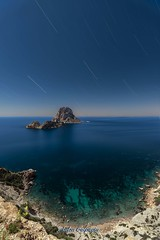 Star trails with Moon light in Ibiza ... (Anton Calpagiu) Tags: nightscape seascape night island es vedra ibiza irix15mm blue sea rocks stars orion startrails