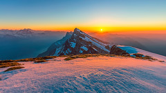 Schibenstoll sunset (lukas schlagenhauf) Tags: sunset schibenstoll churfirsten walensee snow switzerland myswitzerland mountains alps alpstein abendrot afterglow dusk landscape creativcommons spring hdr