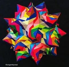 Rose Unit Kusudama (designed by Tomoko Fuse) (nealgodse) Tags: origamibyneal modularorigami origami 90units dualcoloredpaper tomokofuse roseunitkusudama kusudama