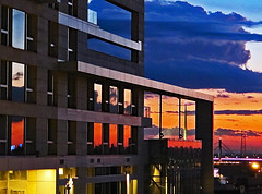 Variations of a sunset (Peter Leigh50) Tags: belgrade sunset reflection building glass sky skyscape city cityscape canon g12
