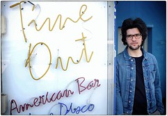 Time Out (Steve Lundqvist) Tags: people guy man portrait streetphotography glasses hair jeans jacket fashion american bar local time out neon lights sign insegna luci vintage color blue disco music pop art seventy