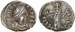 50-Denarius silver coin of Hilderic, King of the Vandals and Alans (Historystack) Tags: deaths vandals government historyoftunisia earth africa middleages 6thcentury may6 solarsystem germanicpeoples thrasamund hilderic vandalkingdom 520s year523 milkyway