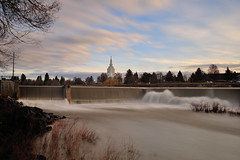Idaho Falls (alan.griffin16) Tags: idahofalls idaho temple greenbelt water waterfall snakeriver