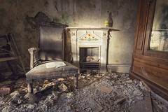 Abandoned Farmhouse (Ffotograffiaeth Dylan Arnold Photography) Tags: abandoned derelict dilapidated interior furniture fireplace chair rubble decay wales welsh canoneos6d canon1740mmf4l empty peaceful quiet cymru cymreig lucozadebottle peeling flaking rotting decaying crumbling ruined