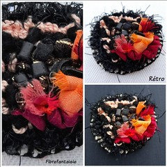 17-03-18 MChG (FibreFantaisie) Tags: rughooking bouclettesaucrochetsurtissu noir cuir coton sarisilkribbon leather black broche textilejewellery